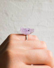 Amethyst Hand Carved Wolf Sterling Silver Ring