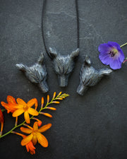 Large Hematite Hand Carved Wolf Necklace