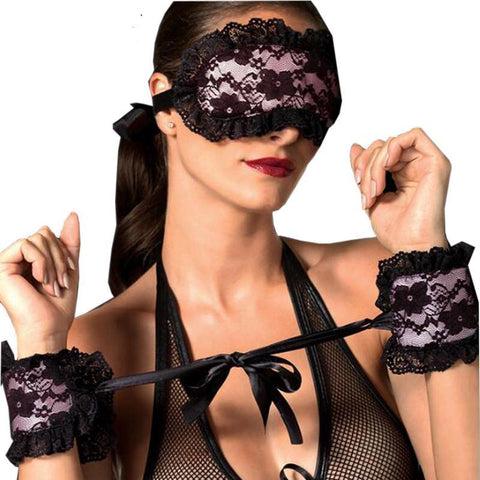 Lenceria Exotic Lace Mask Blindfolded Patch + Sex Handcuffs Lingerie