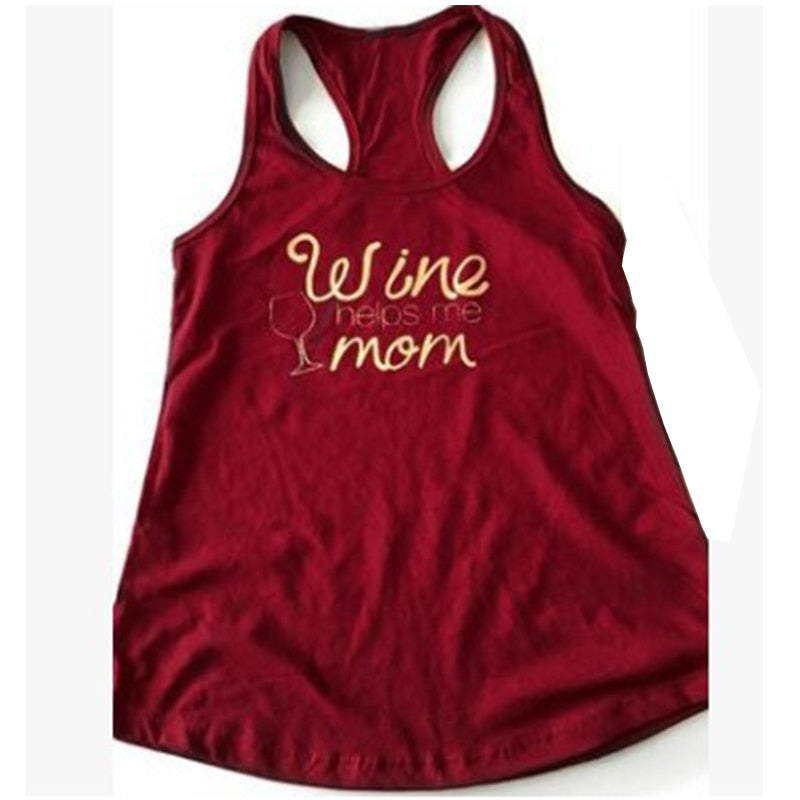 2018 Wine Helps Me Mom Graphic Printing