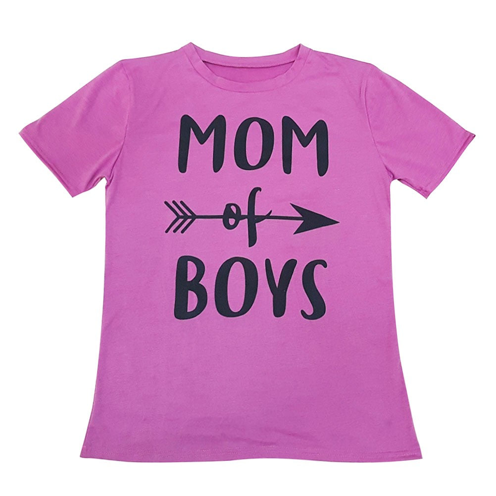 Women Short Sleeve Round Neck Mom Boys Letter Printed T-shirt Tops Blouse