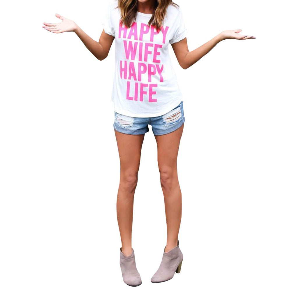 Women's Letter Happy Wife Happy Life Print Casual  Top T-shirt