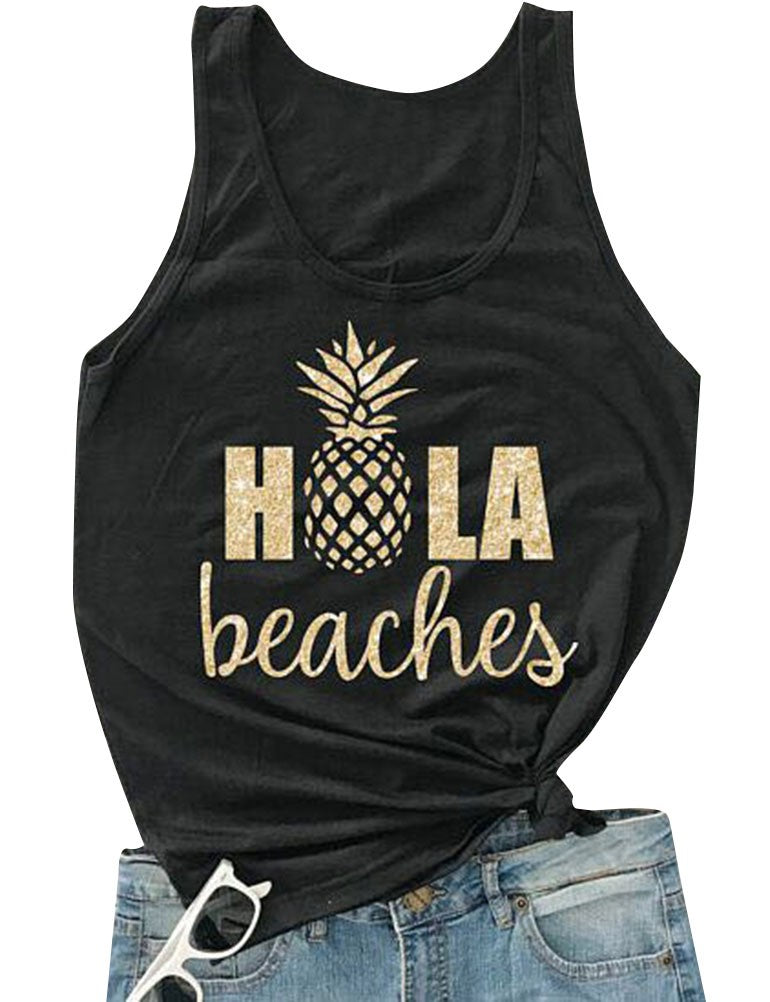 Women's Summer Cute Pineapple Print Tank Top Letter Print Tees Beaches fashion T-shirt