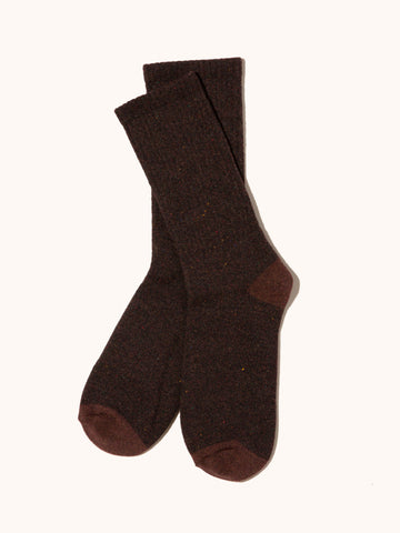 Recycled Marl Sock- Mocha