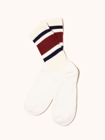 Retro Stripe Sock- Berry/Navy