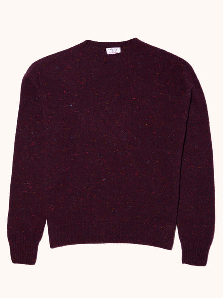 American Trench Merino Cashmere Donegal Sweater- Burgundy