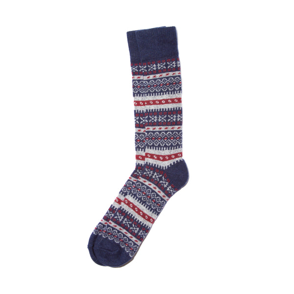 Fair Isle Sock- Navy/Garnet/Grey