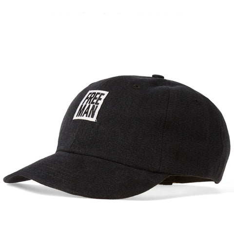 6-PANEL LOGO CAP - BLACK TWILL