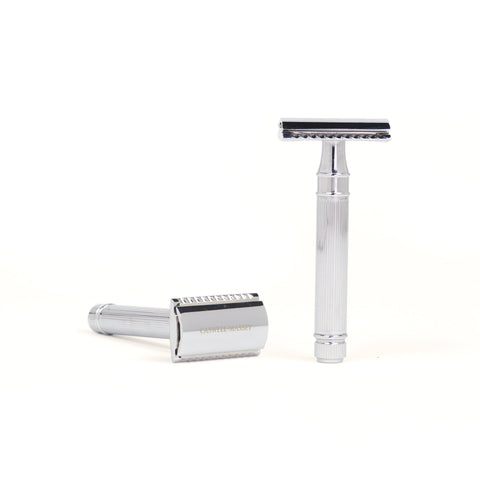Caswell-Massey Ribbed Double-Edged Razor- Chrome