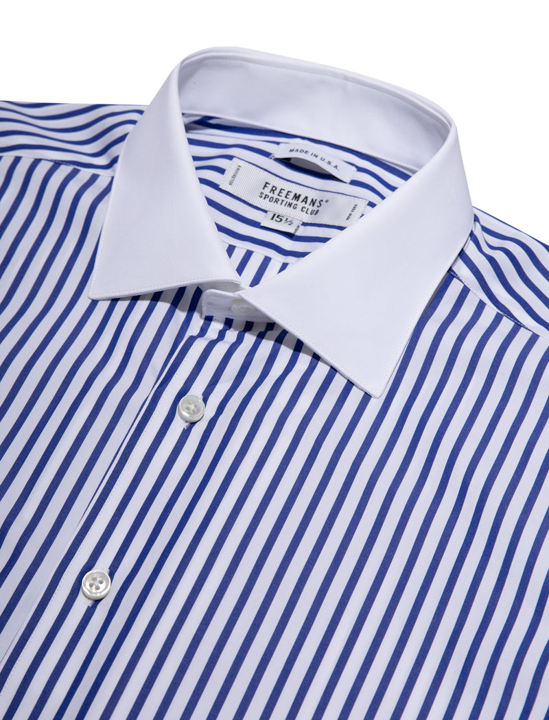 Freemans Dress Shirt- Navy Wide Stripe White Collar