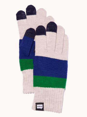 EVOLG Axis Knit Gloves - Light Gray/Dark Blue/Green