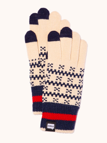 EVOLG Bon Knit Gloves - Vanilla/Navy/Red