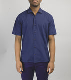 Short Sleeve Camp Collar Shirt - Navy Seersucker