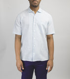 Short Sleeve Camp Collar Shirt - Teal Stripe Seersucker