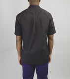 Short Sleeve Camp Collar Shirt - Black Seersucker