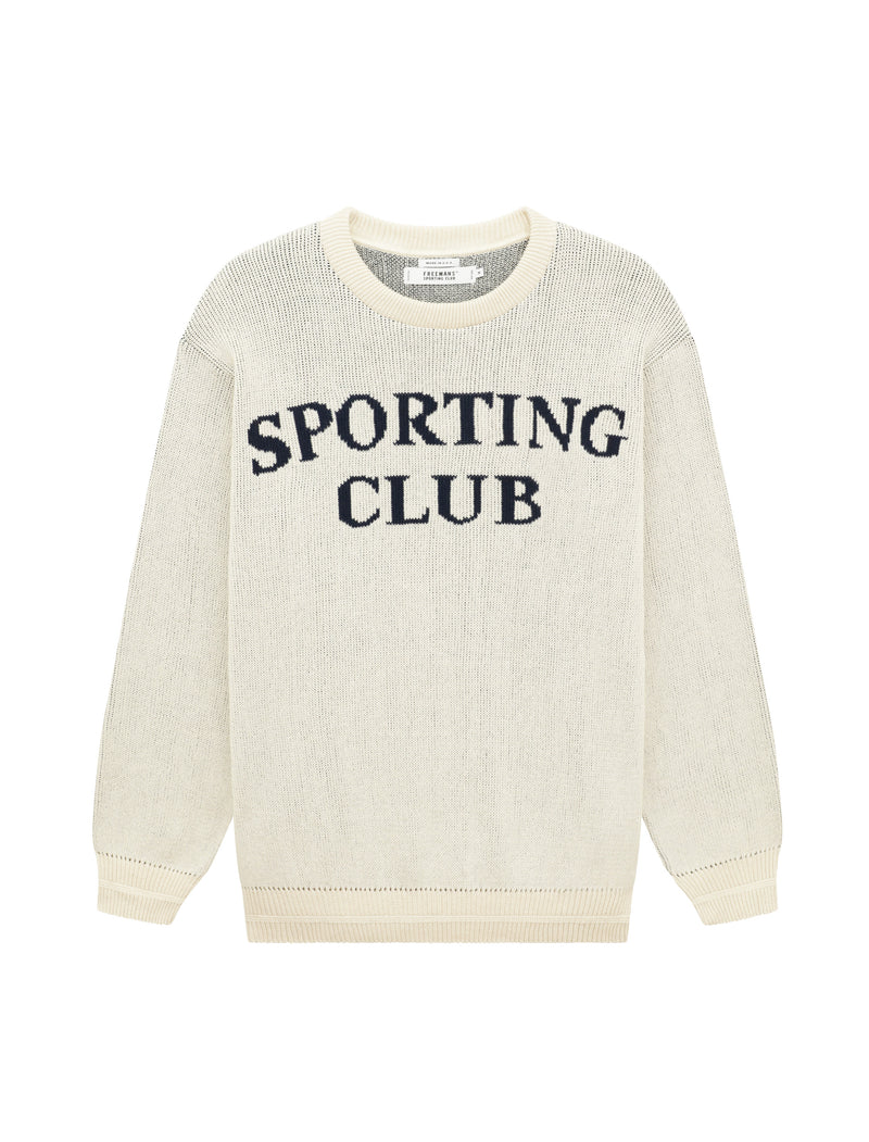 """Sporting Club"" Jacquard Sweater - Natural"