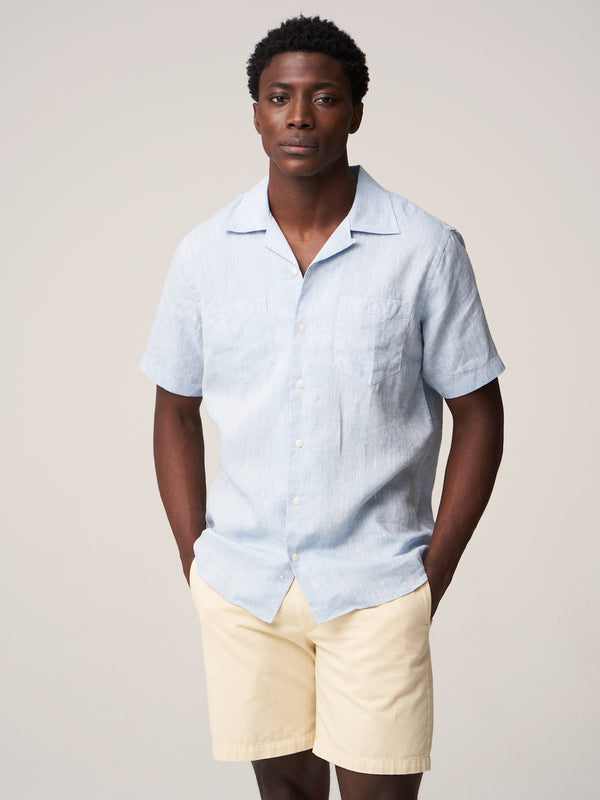 Short Sleeve Camp Collar Shirt - Blue Linen