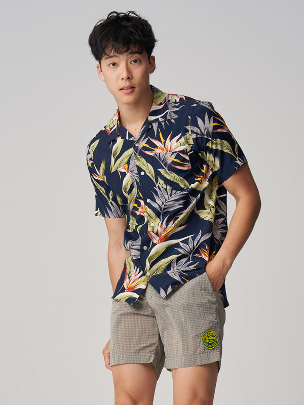 Short Sleeve Camp Collar Shirt - Floral Print