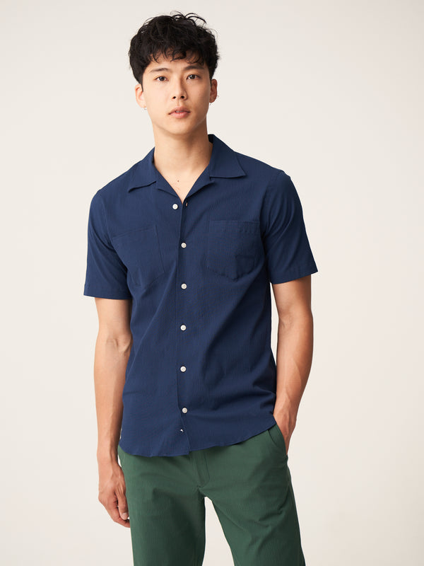 Short Sleeve Camp Collar Shirt - Navy Overdyed Seersucker