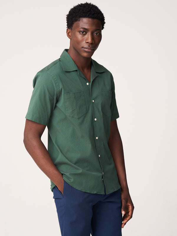 Short Sleeve Camp Collar Shirt - Olive Overdyed Seersucker