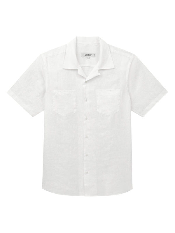 Short Sleeve Camp Collar Shirt - White Linen