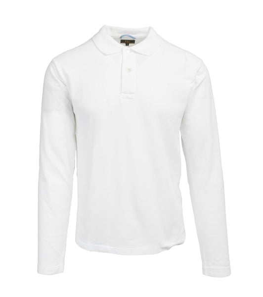 LONG SLEEVE POLO SHIRT - WHITE