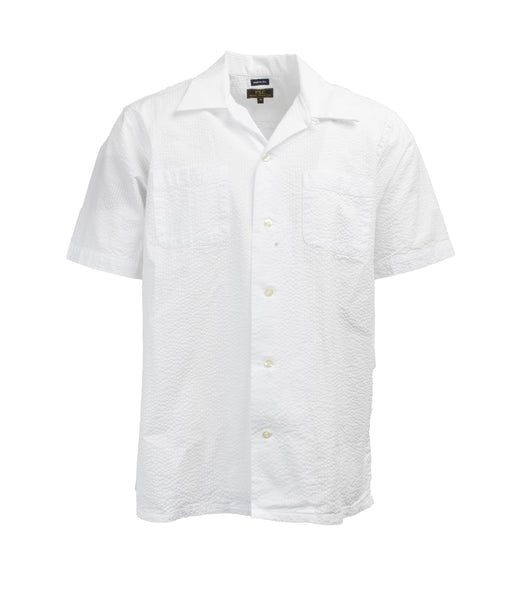 Short Sleeve Camp Collar Shirt - White Seersucker