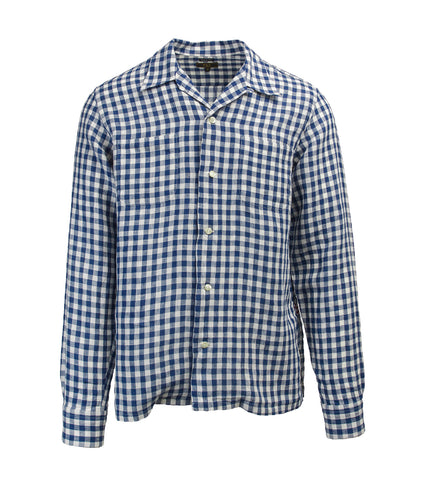 Camp Collar Shirt - Blue Gingham Linen