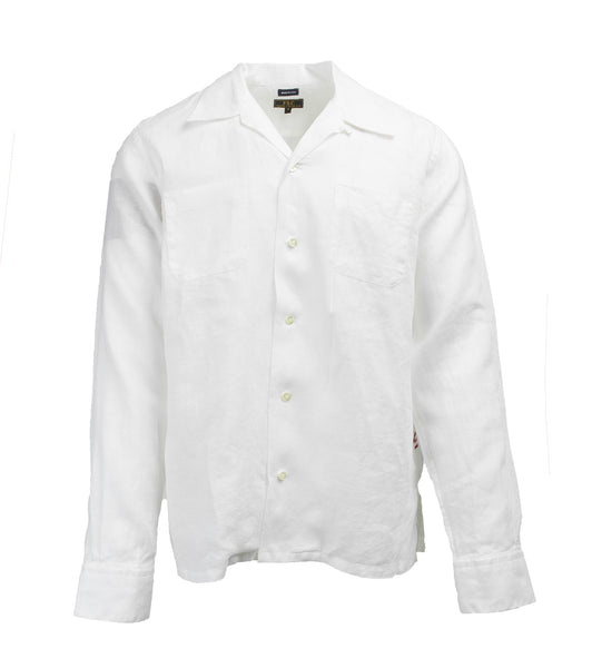 Camp Collar Shirt - White Linen