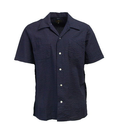 Short Sleeve Camp Collar Shirt - Indigo Seersucker