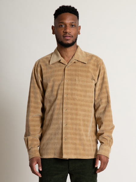 Camp Collar Shirt- Khaki Corduroy