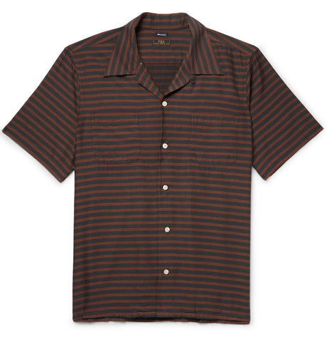 FSC X Mr. Porter Camp Collar Shirt - Green/Rust Stripe