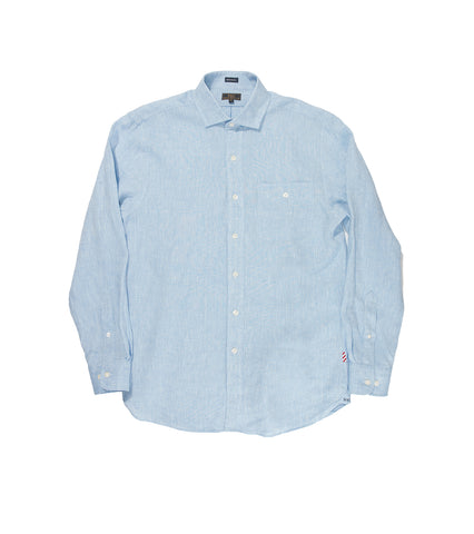 Spread Collar Mission Shirt - Blue Linen