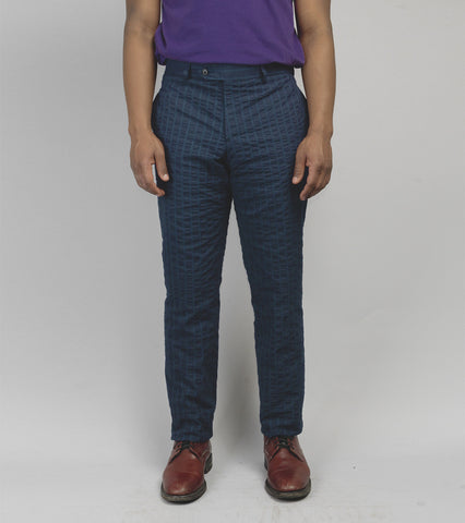 Cuban Suit Trouser - Indigo Seersucker