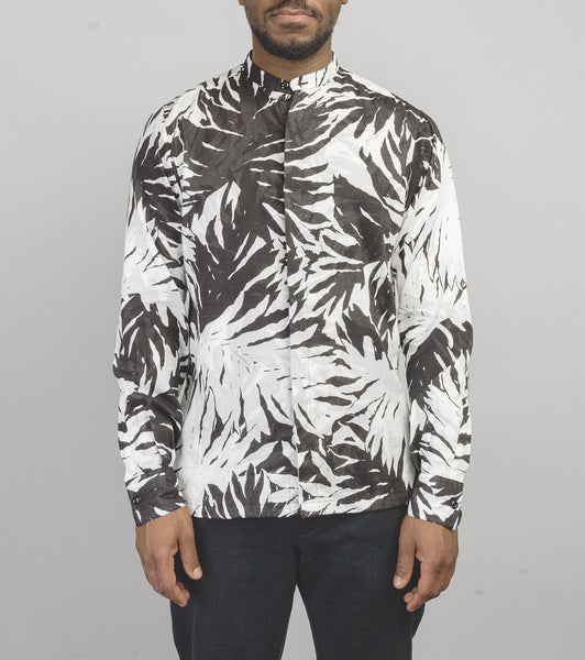 Band Collar Shirt - Frond