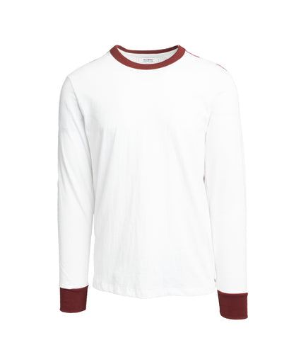 Long Sleeve T-Shirt - White/Burgundy Stripe