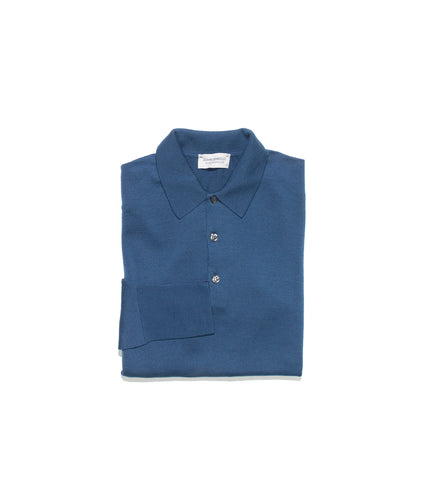 John Smedley Cotswold Long Sleeve Polo- Magnetic Blue