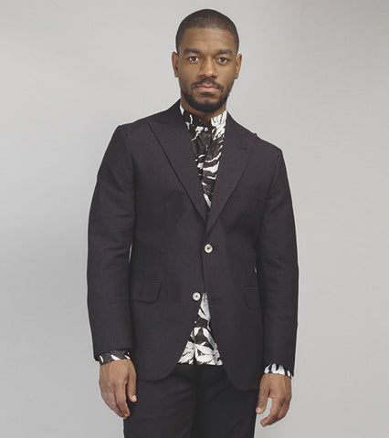 The Cuban Peak Lapel Sportcoat - Black Seersucker