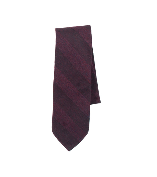 Unstructured Necktie- Burgundy Stripe