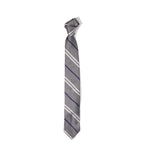 Unstructured Tie- Silver Stripe