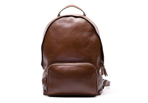 LEATHER ZIPPER BACKPACK - CHESTNUT