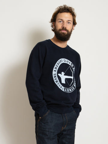 Printed Crewneck Sweatshirt - Dark Navy