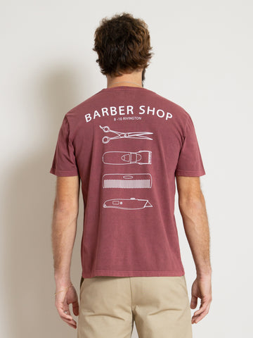 T-Shirt - Burgundy Barber