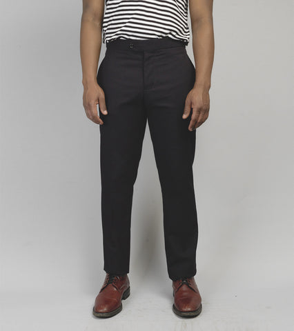 Cuban Suit Trouser - Black Seersucker