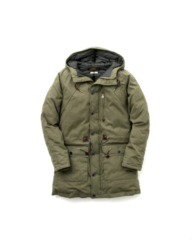 OILED CANVAS DOWN PARKA - Olive