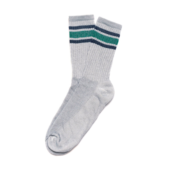 Activity Sock- Silver/Black/Green Stripes