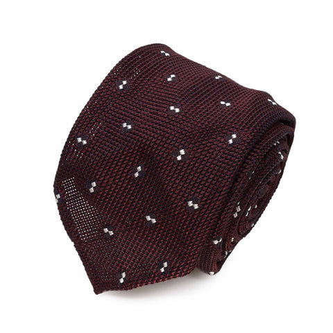Sera Fine Silk-  Burgundy With Dots Grenadine Silk Tie