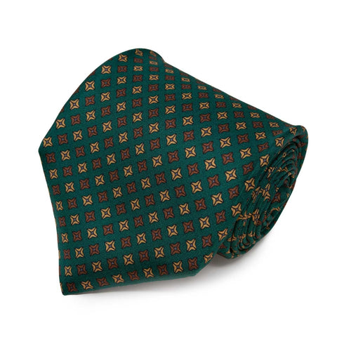 Sera Fine Silk- Green with Brown Square Dots Pattern Silk Tie