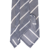Sera Fine Silk-  Grey Striped Grenadine Silk Tie