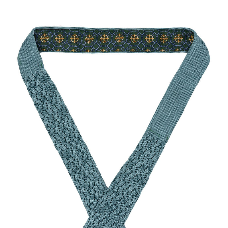 Sera Fine Silk- Light Green Zig Zag Point Knit Tie
